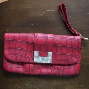 Brick red faux croc clutch wristlet shoulder bag